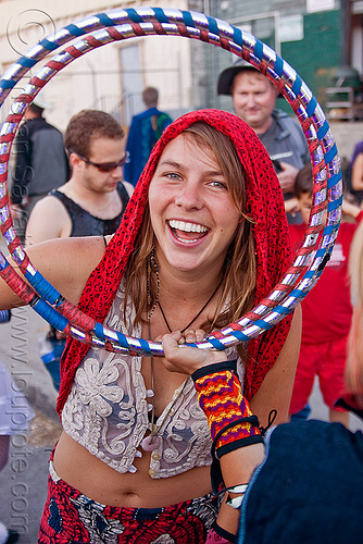 desdemona meck with collapsible hoop, burning man decompression, hulahoop, lace top, people, red, red scarf, woman