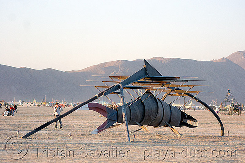 desert fish, art installation, burning man, metal, playa, primordial fish project, sculpture