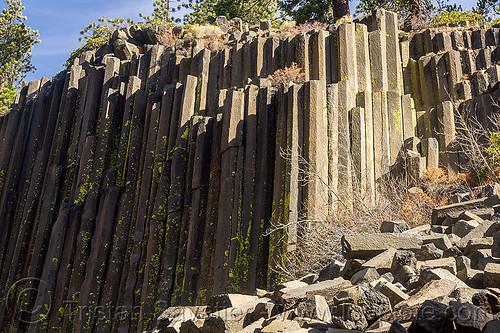devil's postpile basalt columns (california), cliff, columnar basalt, devil's postpile, eastern sierra, geology, lava, lava flow, rock, rock formation, stone, volcanic
