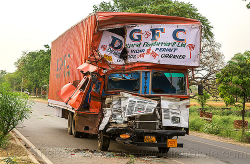 DGFC truck accident - frontal collision (india), delhi gujarat fleet carrier, dgfc, frontal collision, head-on collision, india, lorry, road crash, tata motors, traffic accident, traffic crash, truck accident, wreck