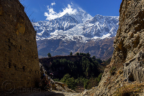 dhaulagiri peak and its glacier (nepal), annapurnas, cliff, cloud, dhaulagiri, dirt road, forest, glacier, house, kali gandaki valley, motorcycle touring, mountain road, mountains, peak, snow, unpaved