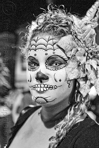 dia de los muertos face painting - white contact lenses - halloween (san francisco), color contact lenses, contacts, day of the dead, dia de los muertos, face painting, facepaint, halloween, michelle, night, special effects contact lenses, sugar skull makeup, theatrical contact lenses, white contact lenses, woman