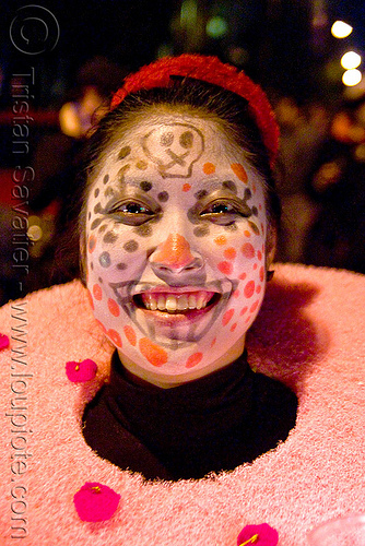 dia de los muertos - halloween (san francisco), day of the dead, dia de los muertos, face painting, facepaint, halloween, makeup, night, polka dots, red, woman