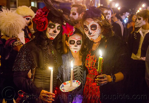 dia de los muertos procession (san francisco), candles, child, crowd, day of the dead, dia de los muertos, face painting, facepaint, halloween, kid, little girl, night, procession, sugar skull makeup, women