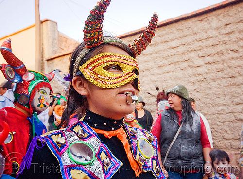 diabla with whistle - carnaval de humahuaca (argentina), andean carnival, careta de diablo, carnival mask, costume, diabla, diablo carnavalero, diablo de carnaval, folklore, horns, indigenous culture, mirrors, noroeste argentino, quebrada de humahuaca, tribal, whistle, woman