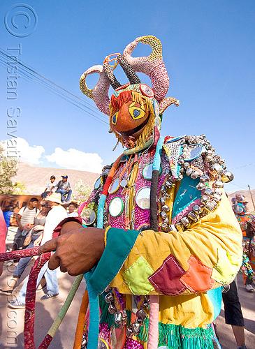 diablo de carnaval - tilcara (argentina), andean carnival, careta de diablo, costume, diablo carnavalero, diablo de carnaval, folklore, horns, indigenous culture, man, mask, mirrors, noroeste argentino, quebrada de humahuaca, quechua culture, tilcara, tribal