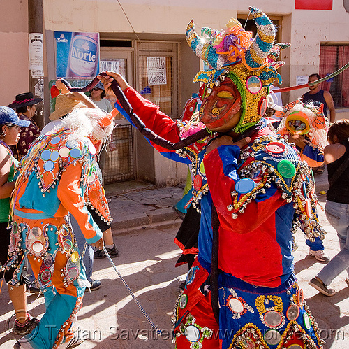 diablos carnavalero dancing - carnaval - tilcara (argentina), andean carnival, confettis, costume, diablo carnavalero, diablo de carnaval, folklore, horns, indigenous culture, mask, noroeste argentino, quebrada de humahuaca, serpentine throws, tilcara, tribal