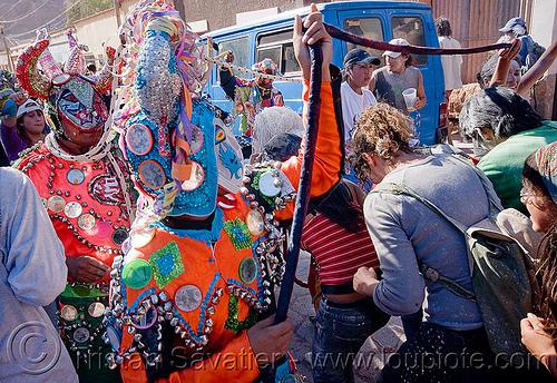 diablos carnavalero dancing - carnival - tilcara (argentina), andean carnival, confettis, costume, diablo carnavalero, diablo de carnaval, folklore, horns, indigenous culture, man, mask, mirrors, noroeste argentino, quebrada de humahuaca, serpentine throws, tilcara, tribal