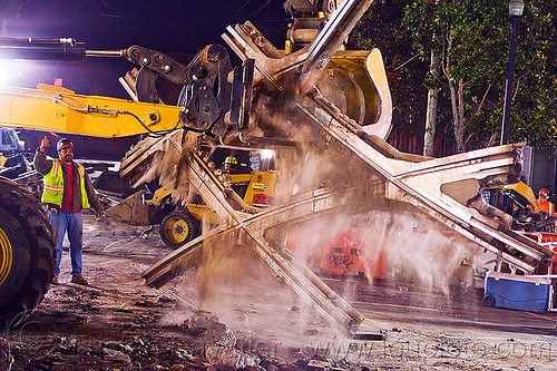 diamond crossing - railroad demolition, at work, demolition, diamond crossing, dust, front loader, light rail, man, muni, night, ntk, railroad construction, railroad tracks, railway tracks, raúl, san francisco municipal railway, track maintenance, track work, wheel loader, worker, working