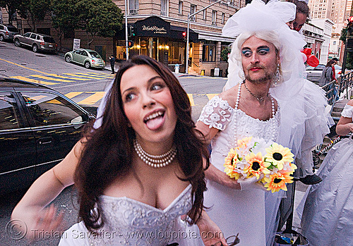 diana furka and randal - brides of march (san francisco), bride, brides of march, man, randal smith, wedding dress, white, woman