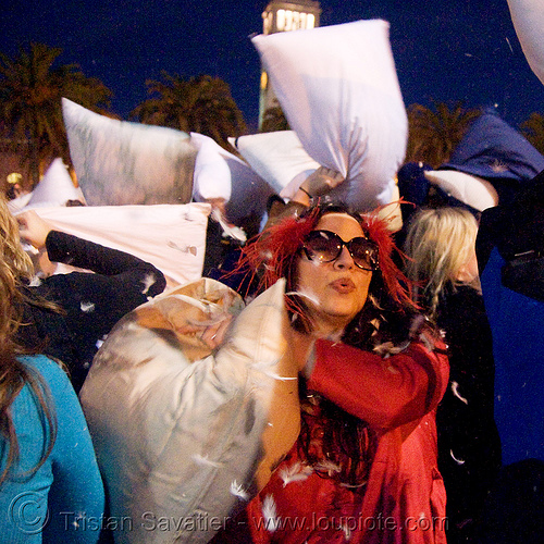diana furka at the great san francisco pillow fight 2008, diana furka, down feathers, night, pillow fight club, pillows, world pillow fight day