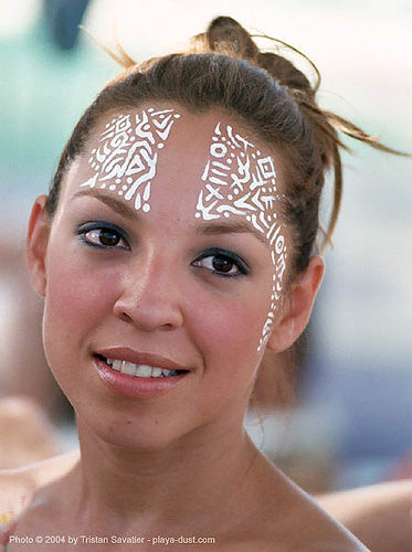 diana_portrait - burning-man 2003, body art, body paint, body painting, burning man, diana, face painting, facepaint, tribal, woman