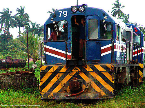 diesel-electric train engines, 79, atlantic railway, blue, costa rica, diesel-electric, engine, locomotive, puerto limon, rusty, train depot, train engines, train yard, trespassing, yellow