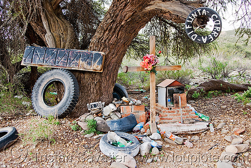 difunta correa shrine (argentina), bad, cachi, calchaquí valley, difunta correa, noroeste argentino, overused, shrine, tires, used, valles calchaquíes