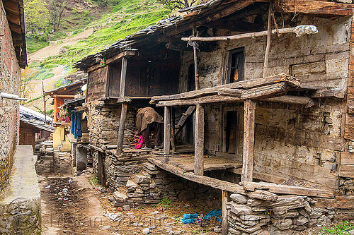 dilapidated house in himalayan village (india), house, janki chatti, man, village