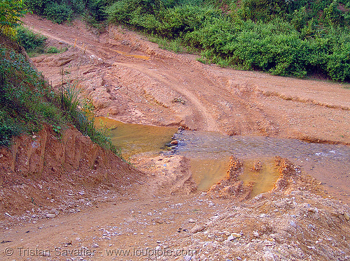 dirt road crossing a stream - vietnam, dirt road, earth road, fording, river crossing, track, unpaved, water