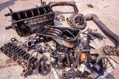 disassembled truck engine (india), disassembled, engine, fixing, india, mechanic, motor, parts, repairing, tata motors