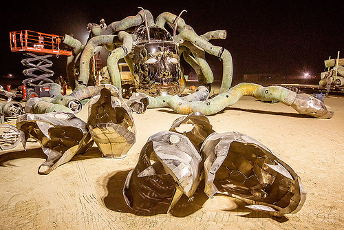 disassembling medusa madness - burning man 2015, art installation, burning man, head, kevin clark, medusa madness, sculpture, snakes, steel