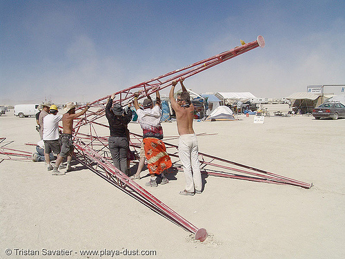 disassembling the red man - burning-man 2005, art installation, burning man, uber man, ubie