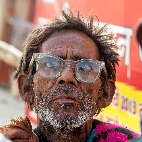 disheveled old man with spectacles (india), beard, disheveled, hindu, hinduism, kumbha mela, maha kumbh mela, old man, prescription glasses, spectacles