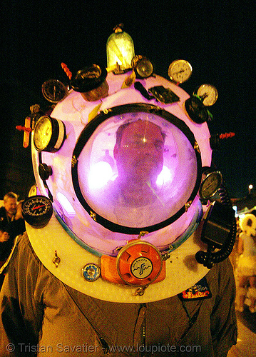 diving helmet costume - burning man decompression 2007, bruce, diving helmet, gauges, man, night, scuba