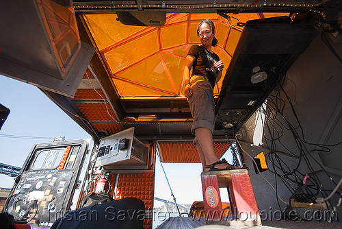 DJ jenny in the unimog - space cowboys (san francisco), orange, ripe