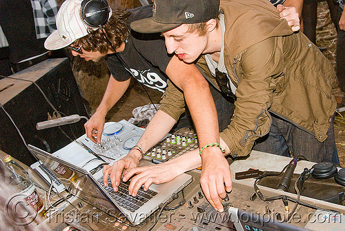 DJs at underground free party, audio mixers, deejays, dj equipment, dj mixers, djs, hands, laptops, men, party, raver, sound, turn tables