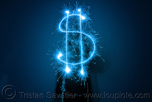 dollar sign - light painting with a blue sparkler, blue, dark, dollar sign, icon, light drawing, light painting, money, sarah, silhouette, sparklers, sparkles, symbol