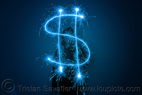 dollar sign - light painting with a blue sparkler, blue, dark, dollar sign, icon, light drawing, light painting, money, sarah, shadow, silhouette, sparklers, sparkles, symbol