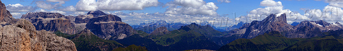 dolomite mountains landscape, dolomites, mountains, panorama, stitched
