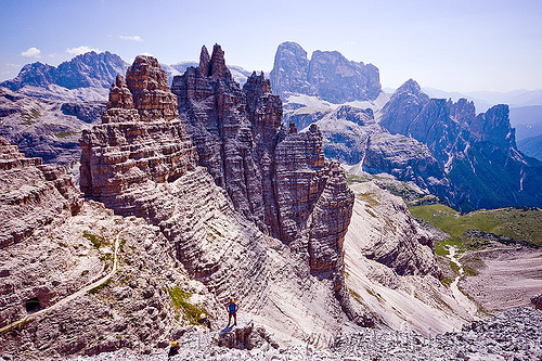 dolomites - view from monte paterno summit, alps, climbers, climbing, climbing harness, dolomiti, ferrata, montaineers, mountain climbing, mountaineer, mountaineering, mountains, parco naturale dolomiti di sesto, people, rock climbing, trail, via ferrata