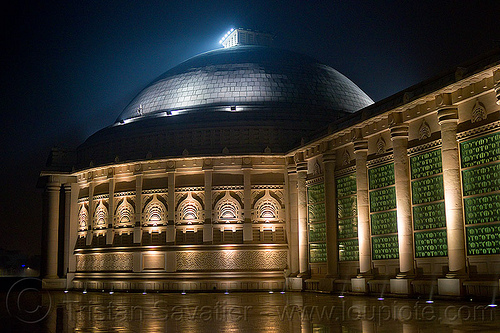 dome monument - ambedkar memorial, architecture, building, dome, dr bhimrao ambedkar memorial park, india, lucknow, monument, night