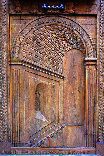 door in the door (paris, france), carved, closed, panel, perspective, relief, trompe l'oeil, wood
