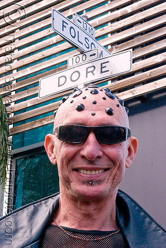 dore alley and folsom street (san francisco), bald head, black bindis, dore alley fair, juan, man, shaved head, shaven head, street signs, sunglasses