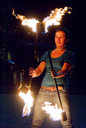 double fire staff, double staff, fire dancer, fire dancing, fire performer, fire spinning, fire staffs, fire staves, flames, night, savanna, spinning fire, woman