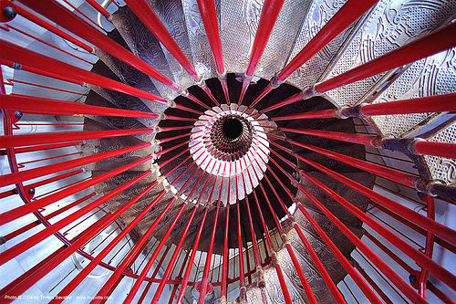 double-helix spiral stairs, circular stairs, ljubljana castle, red, spiral stairs, stairwell, vanishing point