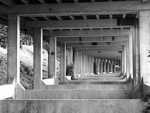 doyle drive - access ramp to golden gate bridge (san francisco), columns, concrete, doyle drive, elevated freeway, golden gate bridge, infrastructure, overpass, pillars, urban