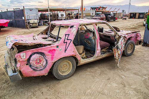 DPW wrecked pink car - burning man 2016, art car, burning man, mutant vehicles, pink car, wreck
