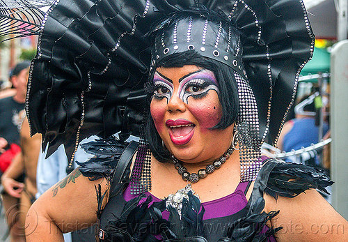 drag queen - holy mcgrail, bio drag-queen, bio queen, black feathers, faux queen, folsom street fair, headdress, headwear, holy mcgrail, make-up, purple, woman