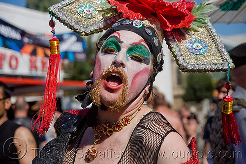 drag queen with chinese hat - dore alley fair (san francisco), chinese hat, drag queen, makeup, man