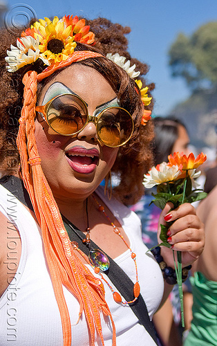 drag queen with flowers - holy mcgrail, bio drag-queen, bio queen, drag queen, faux queen, haight street fair, holy mcgrail, woman