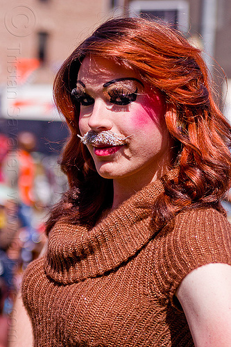 drag queen with mustache, drag queen, fake moustache, fake mustache, man, transvestite, wig