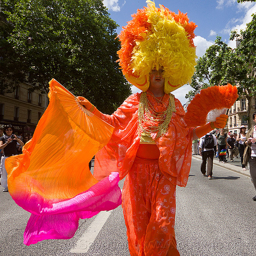orange dragqueen, costume, drag queen, gay pride, man, orange color, paris, people