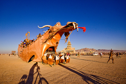 dragon and temple - burning man 2012, abraxas, art car, golden dragon, temple