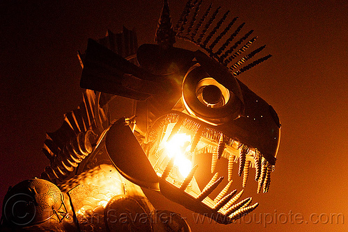 dragon head with fire, animated, art car, burning man, crustacean wagon, dragon, fire, head, kinetic, mutant vehicles, night, sculpture, teeth