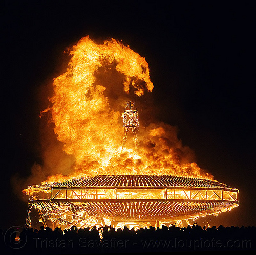 fire dragon - burning man 2013, flames, manipulated, night, the man