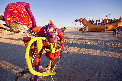 dragons - burning man 2012, abraxas, art car, bicycle, bike, burning man, decoration, golden dragon, mutant vehicles, rose, stuffed dragon