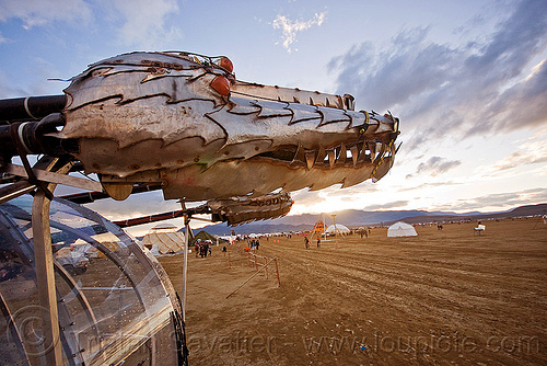 dragons of eden - burning man 2010, art car, burning man, dragon, dragons of eden, dusk, metal, sculpture, teeth