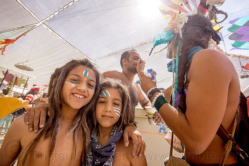 dreadlocks kids with warrior face paint - burning man 2015, boys, brothers, burning man, center camp, children, dad, dreadlocks, dreads, face paint, face painting, father, kids