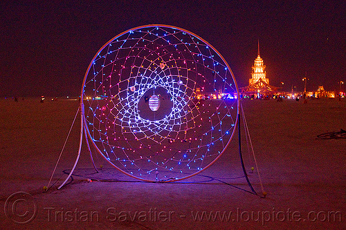 dream catcher - burning man 2012, art installation, burning man, dream catcher, glowing, night